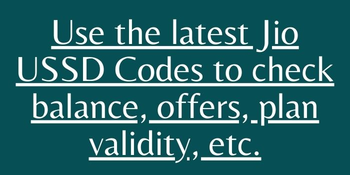 what is ussd code of jio