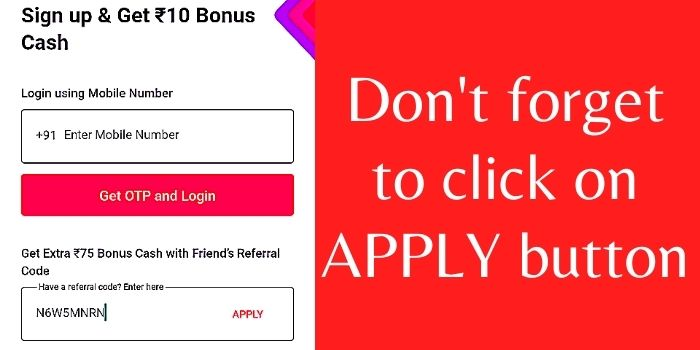 Enter Referral Code In MPL